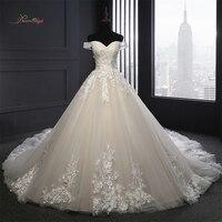Dream Angel Sexy Backless Strapless A Line Wedding Dresses 2018 Appliques Flower Vintage Bride Dresses Robe