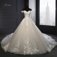 Dream Angel Sexy Backless Strapless A Line Wedding Dresses 2018 Appliques Flower Vintage Bride Dresses Robe