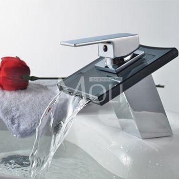 Basin Faucets Bronze Tap Modern Bathroom Sink Waterfall Faucets Mixer Taps Black Single Handle Glass Spout ML8102B 5