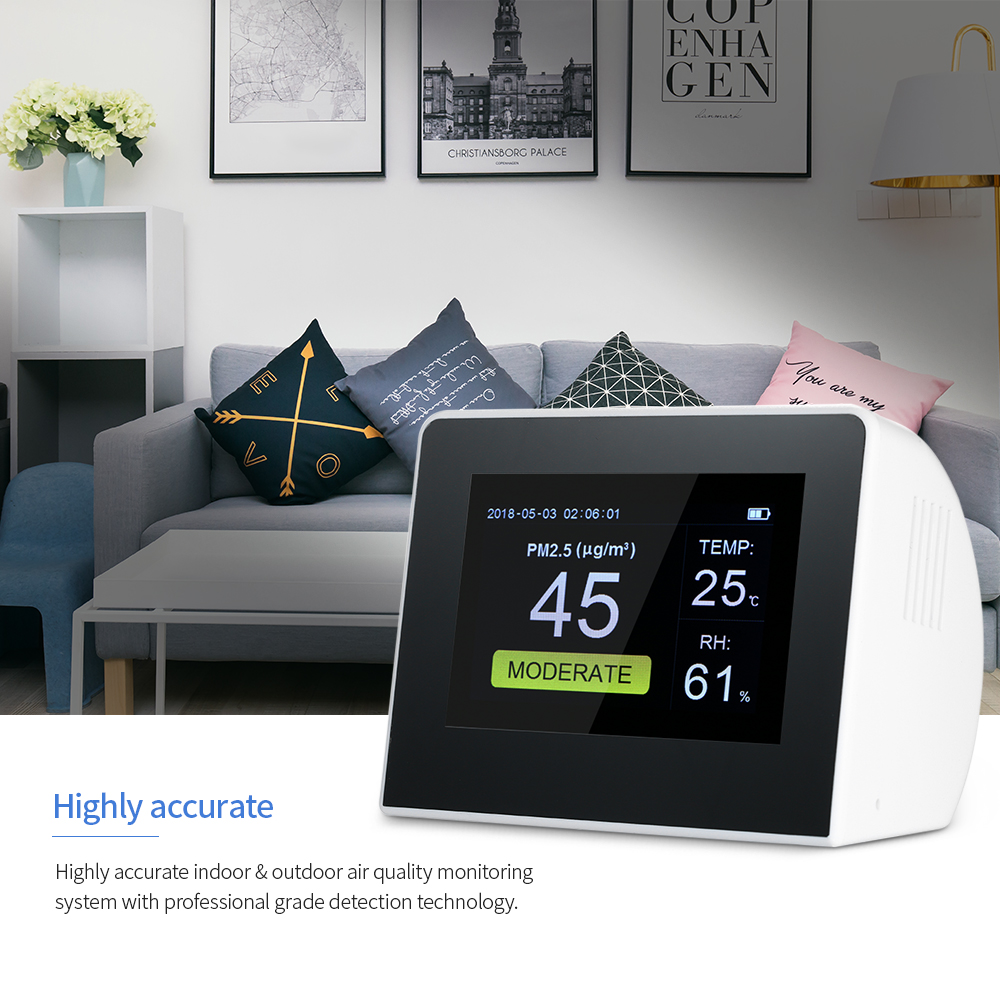 Indoor Outdoor Air Analyzers Digital Air Quality Detector PM2 5 Formaldehyde Gas Monitor LCD HCHO TVOC