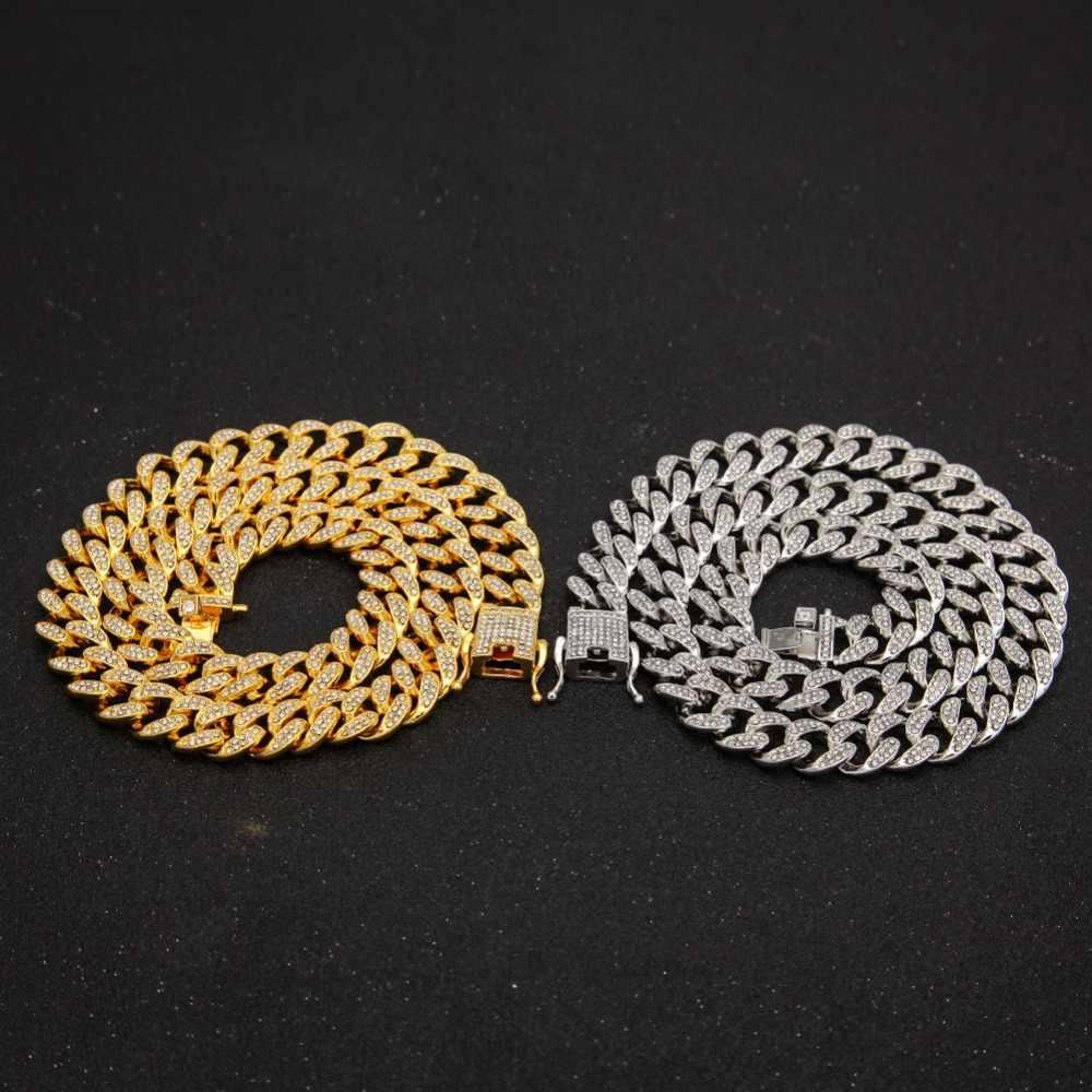 13mm Iced Out kubański naszyjnik łańcuch Hip hop biżuteria Choker złoty srebrny Rhinestone CZ zapięcie dla mężczyzn raper modne naszyjniki Link