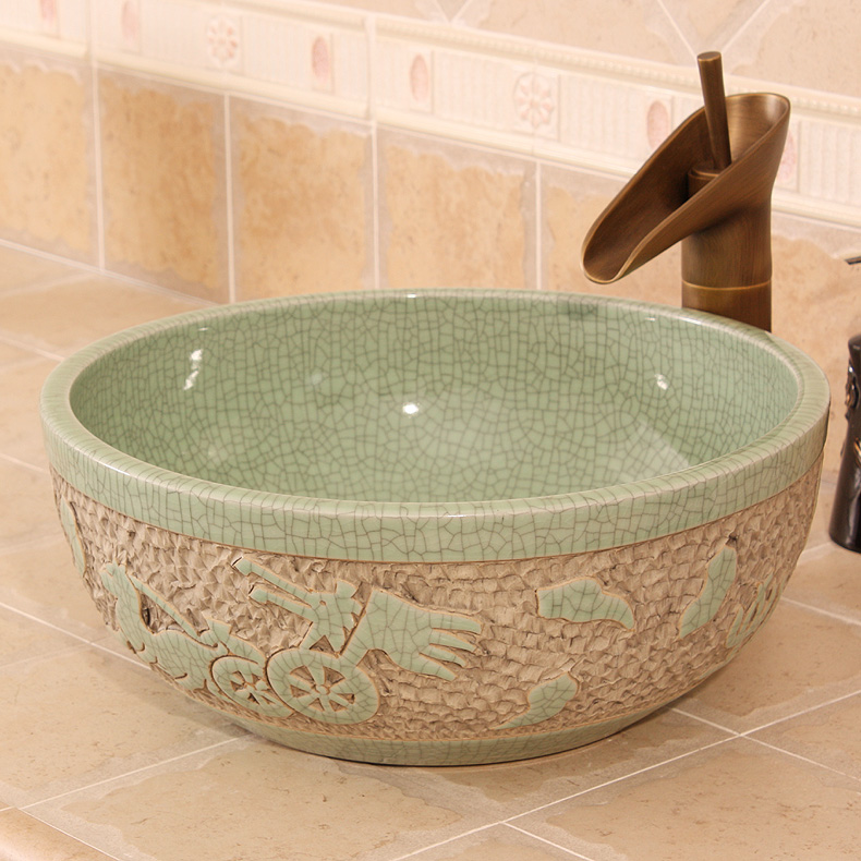 Crack Carved The Carriage Design Europe Vintage Style Ceramic Art Basin Sink  Counter Top Bathroom Sink