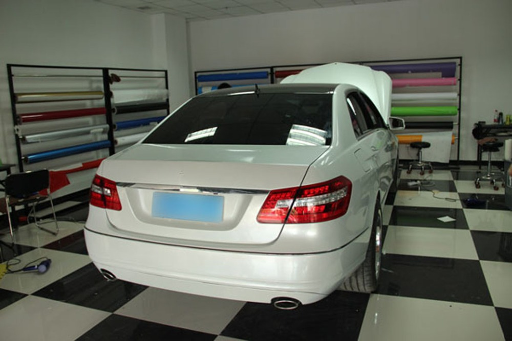 Image 2 - Car Styling Chrome Pearl Ceramic White Vinyl for car wrapping Pearl matte white satin film with Size: 10/20/30/40/50/60x152cm-in Car Stickers from Automobiles & Motorcycles