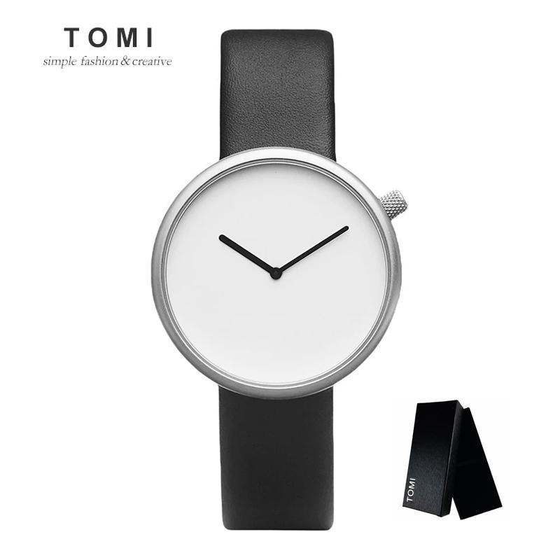 Prix pour TOMI Minimaliste Style Hommes Femmes Montre De Mode Casual En Cuir Quartz Montre-Bracelet Étanche Analogique Sport Horloge Relogio Feminino
