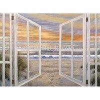 Landsacep ölgemälde Wandkunst Leinwand dekoration Ozean Fenster Szene 100% hand Painted Freie verschiffen qualität