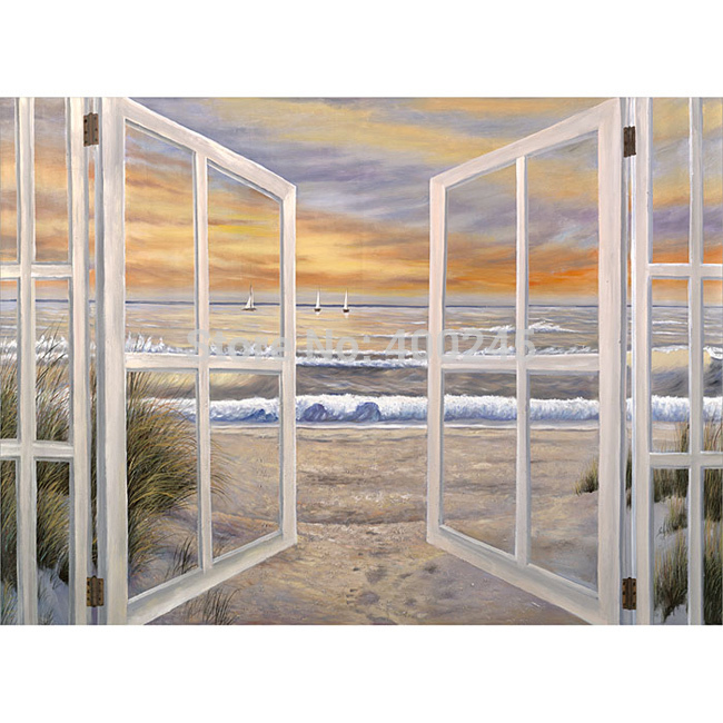 Landsacep Oil Painting Wall Art Canvas Home Decoration Ocean Window Scene 100 Hand Painted Free Shipping High Quality In Calligraphy From