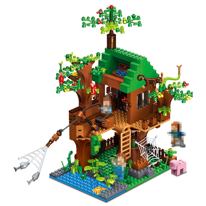 Minecrafter Series Fish Island Forest House Building Blocks for Toddlers Clever Construction Toys Compatible LegoINGlys 443Pcs 259pcs new my world building blocks sets mine and workers scene blocks compatible legoinglys minecrafter toys for childrens