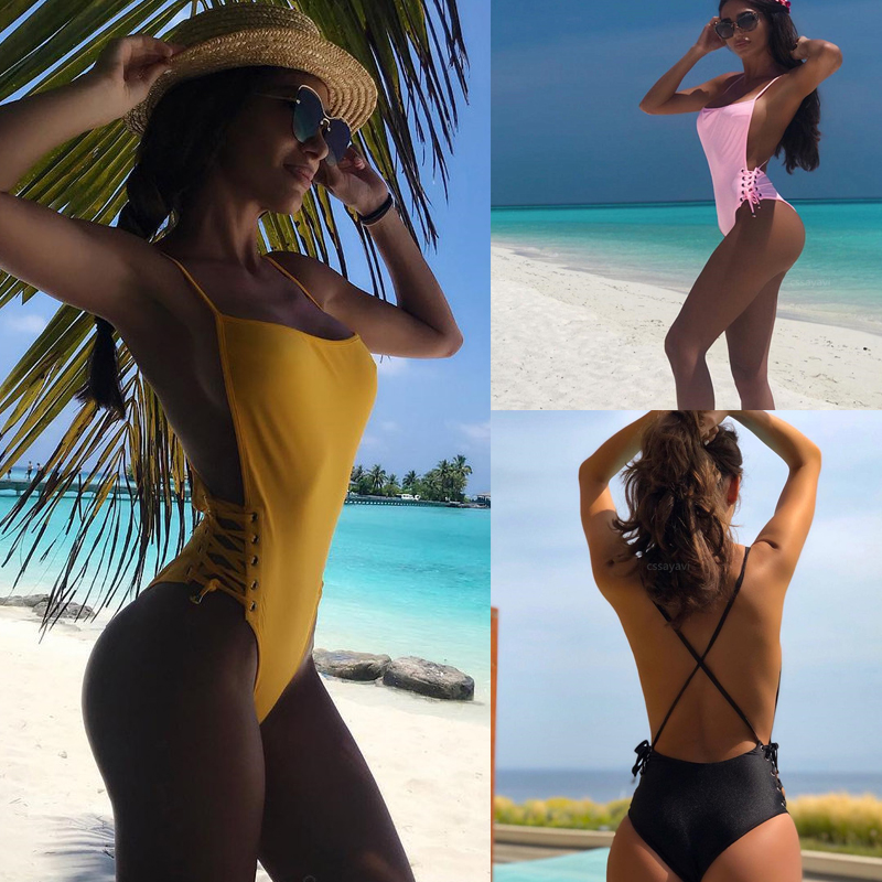 Bikinis 2019 Woman High Waist One Piece Swimsuit Push Up Women Swimwear Sheer Bikini High Waisted Bathing Suit Micro Thong Bikni