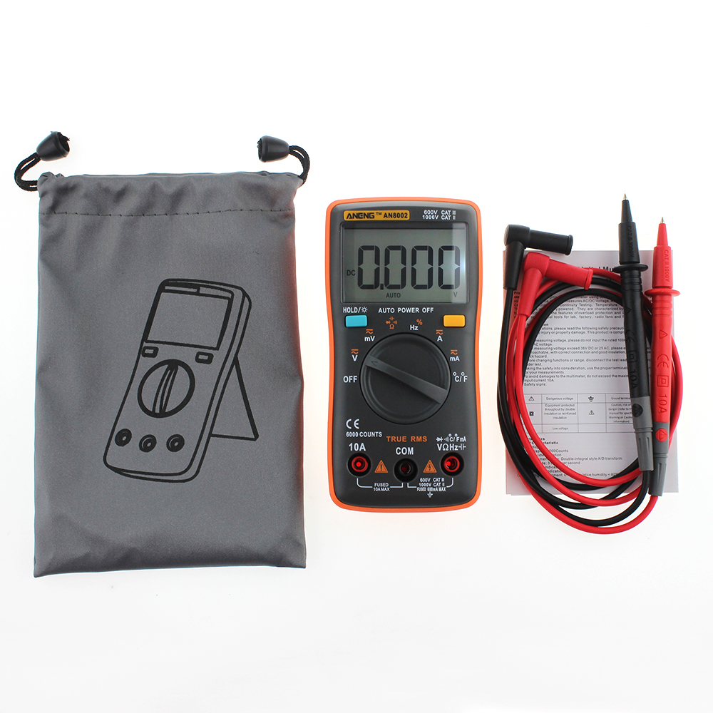 ANGNG AN8002 Multimeter 6000 counts Back light AC/DC Ammeter Voltmeter Ohm Frequency Diode TemperatureH52 an8002 multimeter 6000 counts back light ac dc ammeter voltmeter ohm frequency diode temperature y40