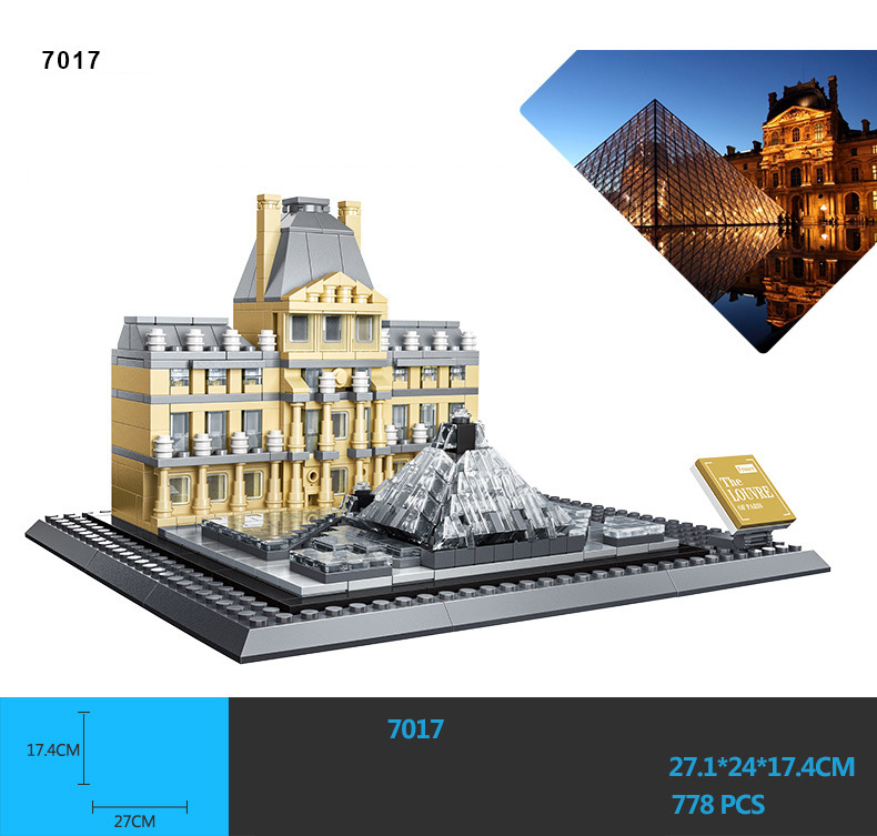 Hot world famous architecture france paris Louvre Museum model building block assemblage model educational toys collection loz mini diamond building block world famous architecture nanoblock easter island moai portrait stone model educational toys