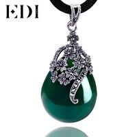 EDI Kadınlar Vintage Yeşil Jade Takı 925 Sterlini Tay Gümüş Kalsedon Akik Kolye Kolye Damla Moda Stil DX467S