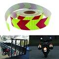 5 cm x 50 m Filme PET Fita de Advertência Reflexivo Segurança Seta Adesivo À Prova D' Água para o Caminhão Do Carro amarelo fluorescente e vermelho
