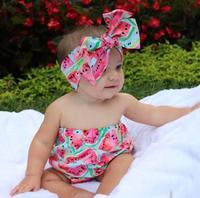 2017 Funny Baby Girl Tiny Cottons Ruffle Sleeve Boduysuit Headband Toddler Fashion Jumpsuit Sunsuits Outfits Baby