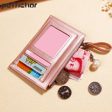 Pearlescent Leather Small Wallet Women Luxury Brand Mini