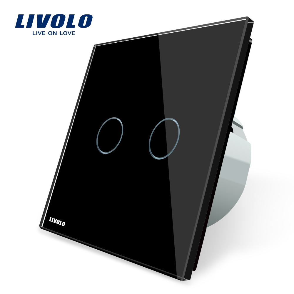 Livolo EU Standard, Wall Switch VL-C702-12,Black Crystal Glass panel, 2 Gangs 1 Way, Wall Light Touch Screen Switch eu plug 1gang1way touch screen led dimmer light wall lamp switch not support livolo broadlink geeklink glass panel luxury switch