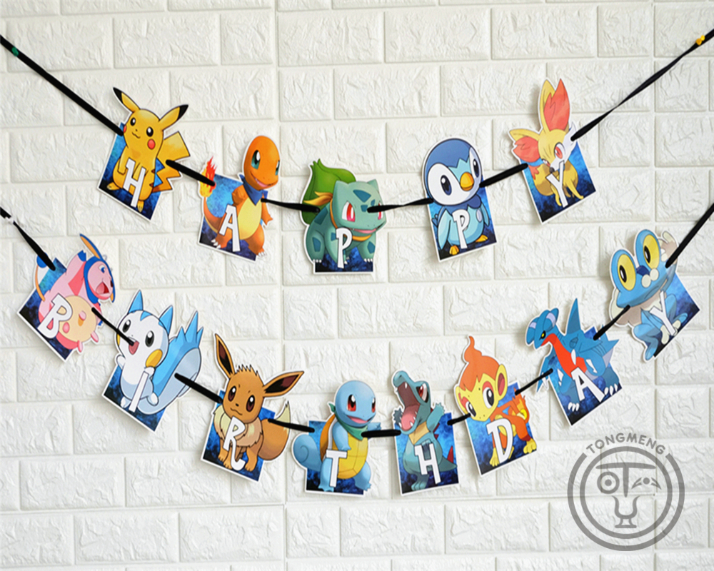 cartoon Anime pokemon go Pikachu banner bunting pennant Kids Birthday Party Decoration Set Party Supplies Baby shower AW-0746