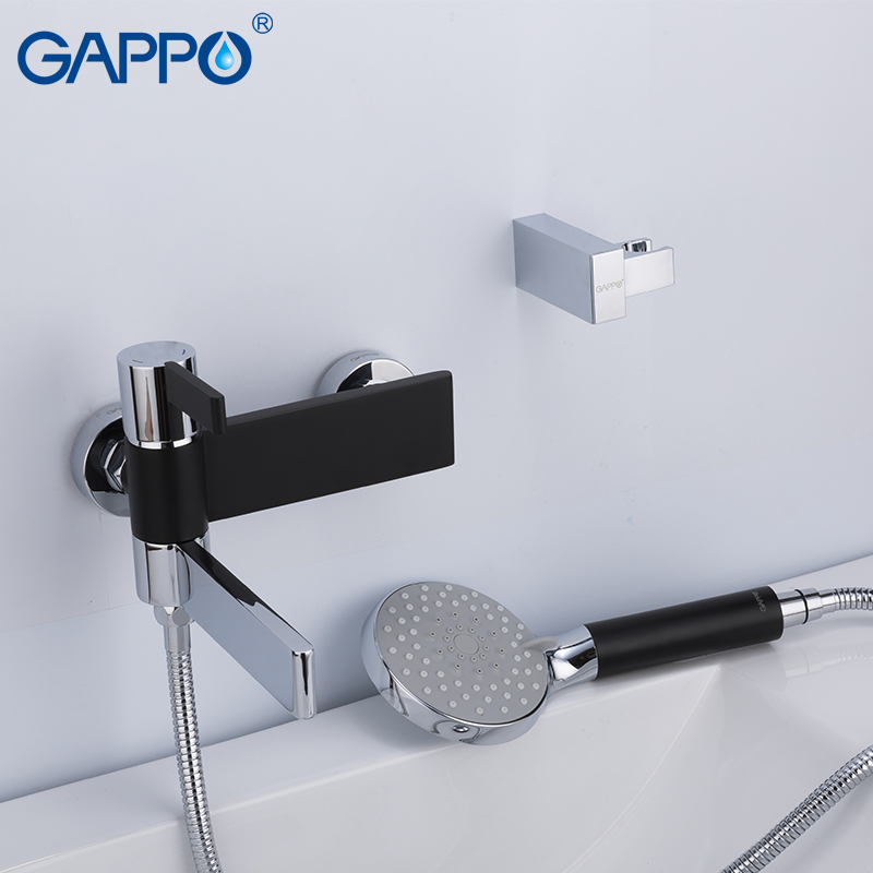 GAPPO shower faucet do anheiro taps black and chrome wall mounted shower faucet brass bathroom rainfall shower bathtub faucet   GAPPO shower faucet do anheiro taps black and chrome wall mounted shower faucet brass bathroom rainfall shower bathtub faucet