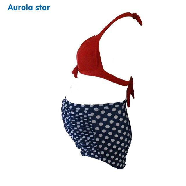 bca0b2c441a7c Pregnant Swimwear Pregnancy Maternity Swimsuit Swimwear Women High Waisted  Sexy Bikini Retro Solid Floral Dot AUROLA STAR