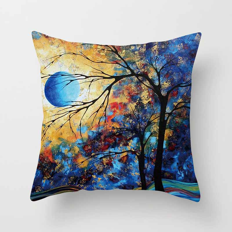Hot sale different colors kinds of trees creative picture Pillowcases boys girls weeping square pillow covers 45*45 cm