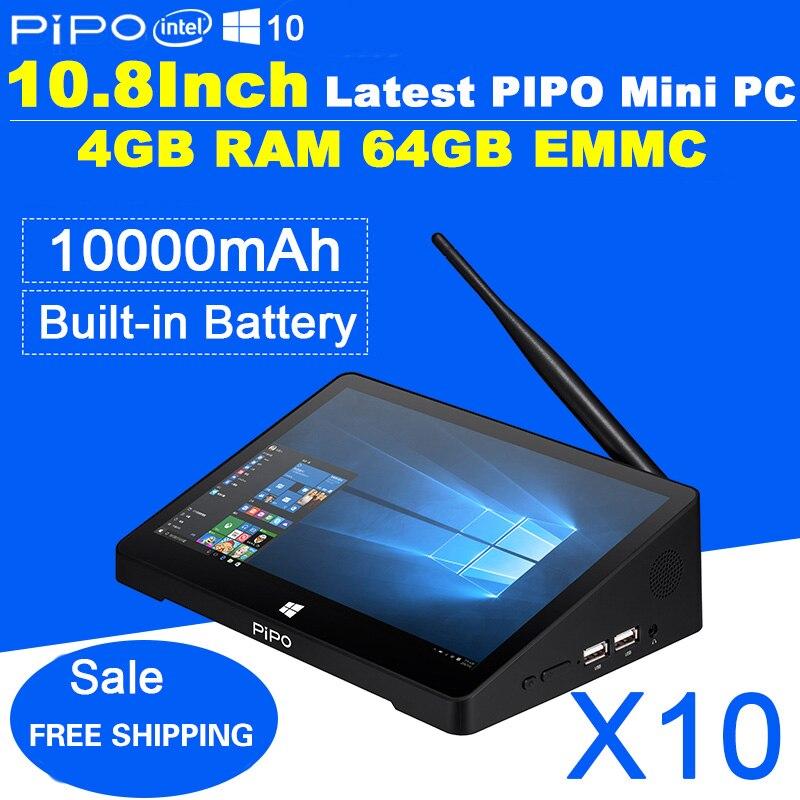 Prix pour Date 10.8 Pouce 1920*1280 PIPO X10 Mini PC Windows 10 TV Box Z8300 Quad Core 4G RAM 64G ROM HDMI Médias Boîte Bluetooth Win10