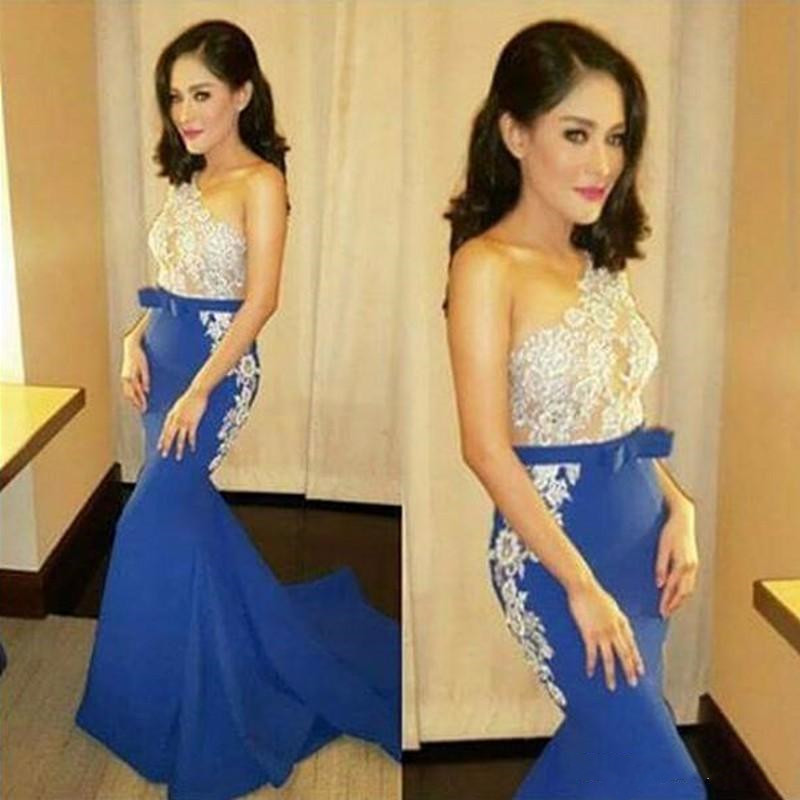One Shoulder   Prom     Dresses   2019 vestidos de gala Mermaid   Prom     Dress   Sleeveless Lace appliques Satin evening   dress   Hot Selling