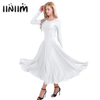 Iiniim Women Adult Polyester Round Neck Long Sleeves Professional Ballet Dancing Dresses Loose Fit Liturgical Praise
