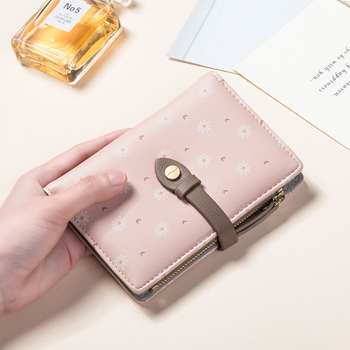 2019 New Fashion Wallet Bag Women Two Fold Small Short Coin Pocket Purse Flowers Printed Lock Card Holder Wallet Carteras