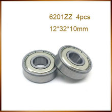 4 pçs/lote blindagem metálica 6201ZZ 12x32x10mm 6201-2Z esfera de aço do rolamento rolamento 12mm 12*32*10mm 6201Z deep groove rolamento de esferas