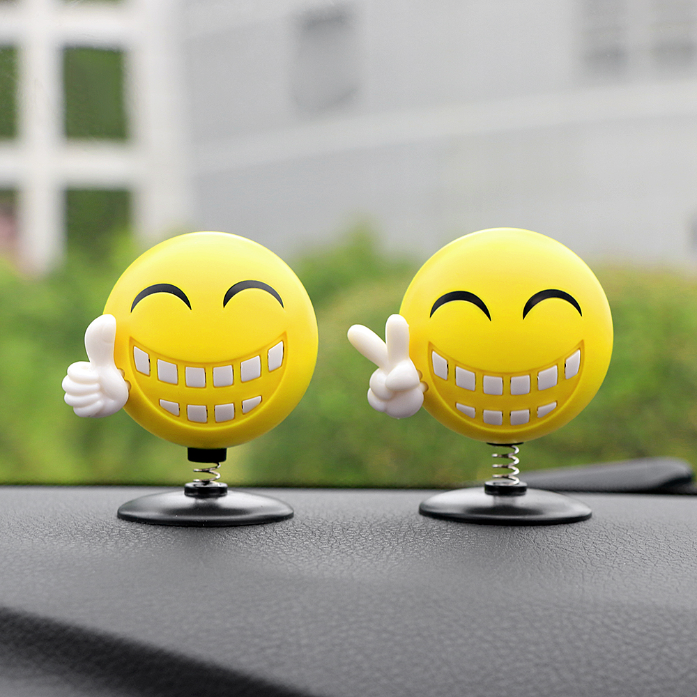 Car Ornament ABS Cute Shaking Head Happy Face Perfume Decoration Auto Interior Smile Energy Lovely Air Freshener Solid Balm car ornament lovely lucky cat car outlet perfume clip 4 7cm little car decoration balm car air freshener 1pcs