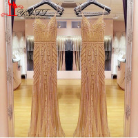 Robe De Soiree Evening Dress 2017 Real Photos Nude Color Tulle Crystal Party Occasion Formal Long