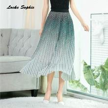 1pcs Hight waist Womens Plus size skirts 2019 Summer mesh Chiffon Splicing Leopard Print Gradient skirt Ladies Casual
