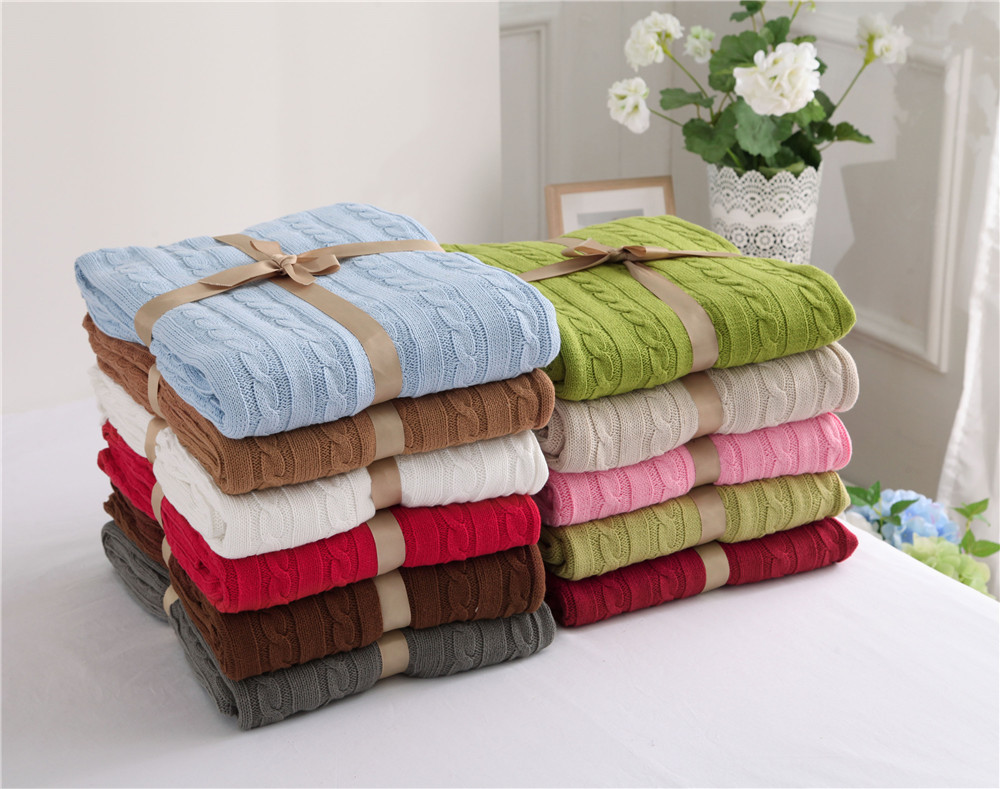ФОТО 2017 New Arrival Cotton Knitting Wool Blanket Sofa Plain Dyed Classic Knitted Thread Blanket/towel Blanket Adults Winter 180X200