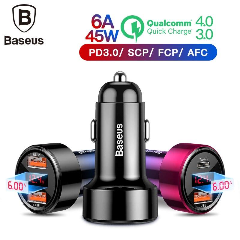 Baseus Dual Usb Carregador de Carro QC 3.0 Carregador Rápido Carregamento Do Telefone Móvel Carregador de Carro para iphone Samsung Huawei de Metal Do Carro carregamento