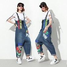 купить!  Модные женские хип-хоп комбинезоны комбинезон свободные брюки брюки длинные мультфильм джинсовый