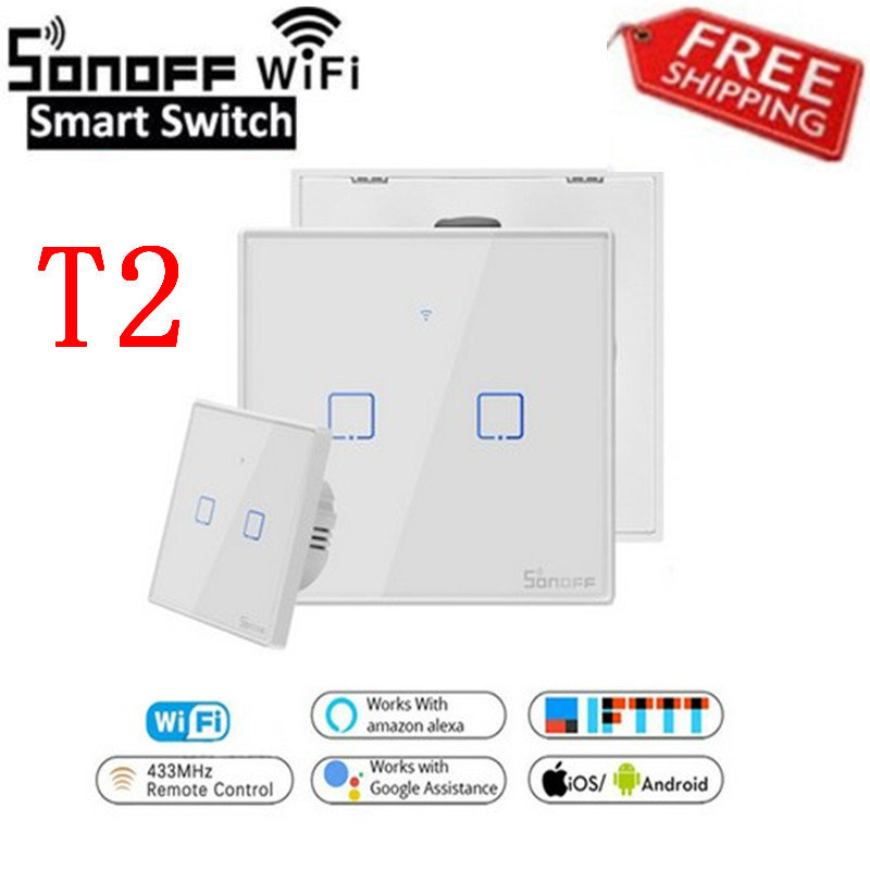 SONOFF T2US EU/UK TX Smart Wifi Touch Wall Light Switch With Border Smart Home 1~3 Gang 433 RF/Voice/APP Control Work With Alexa