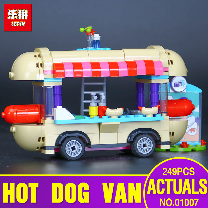 LEPIN 01007  249pcs amusement park Hot dog diner Model Building blocks Bricks Compatible Toy Christmas Toys Children Gift 41129 lepin 02012 city deepwater exploration vessel 60095 building blocks policeman toys children compatible with lego gift kid sets