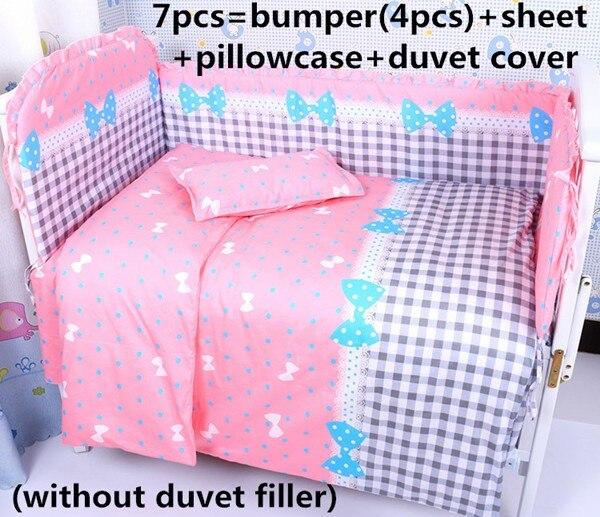 discount 6 7pcs kids crib bedding sets baby bumper comforter cot quilt cover sheet bumper 120. Black Bedroom Furniture Sets. Home Design Ideas