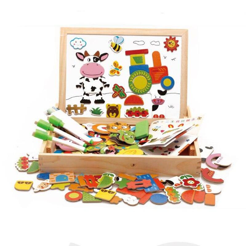 Magnétique en bois puzzle enfants jouets Tangram board cartoon éducatif apprentissage jouet dessin bébé jouets pour filles garçons jouets - 3