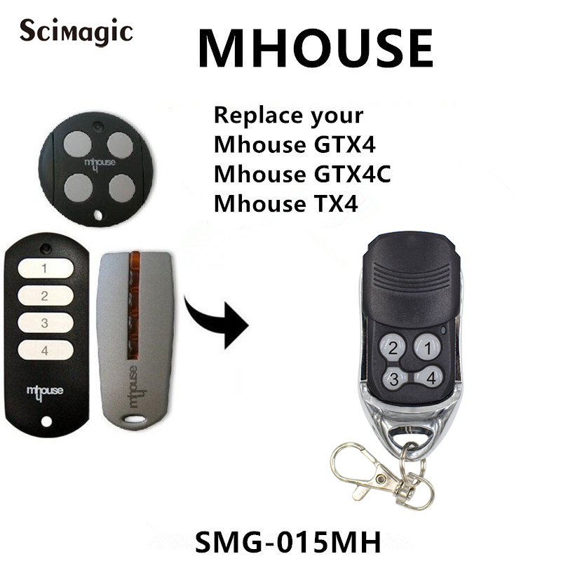 Mhouse Garage Door Remote Control 433mhz Rolling Code Mhouse TX4 GTX4C GTX4 Remote Garage Command Handheld Transmitter 433.92