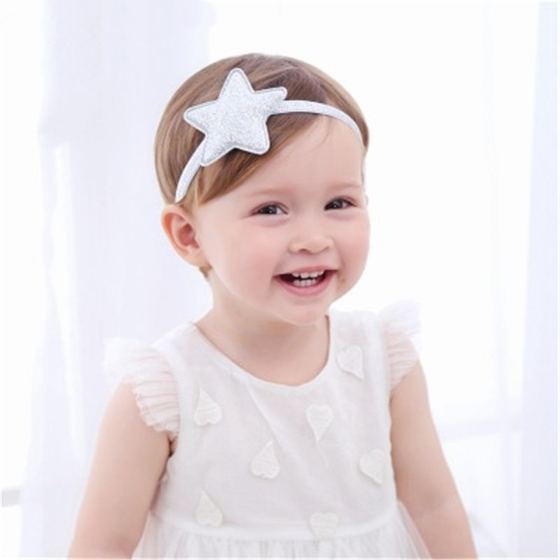 New Colorful Headdress Newborn Toddler Headband Shiny Five-pointed Star Ribbon Elastic Cute Baby Girl Sparkling Hair Headdress