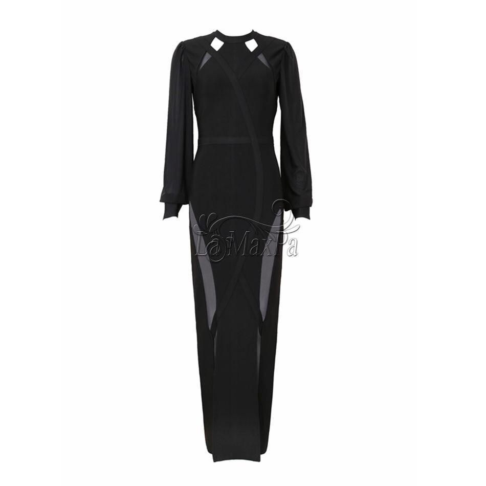 Longue 2017 Robe O Longueur D'été Qualité Ensemble Bandage Maille Soirée Cou Nouvelle Arrivée Femmes Mis Noir Robes Haute ZwrZfTq