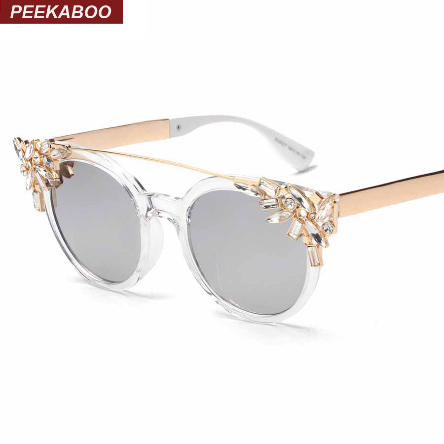 Peekaboo หรูหราแฟชั่น r hinestone แมวตาแว่นกันแดดผู้หญิงออกแบบใสกรอบสุภาพสตรีแว่นกันแดดสะท้อนแสง gafas de sol