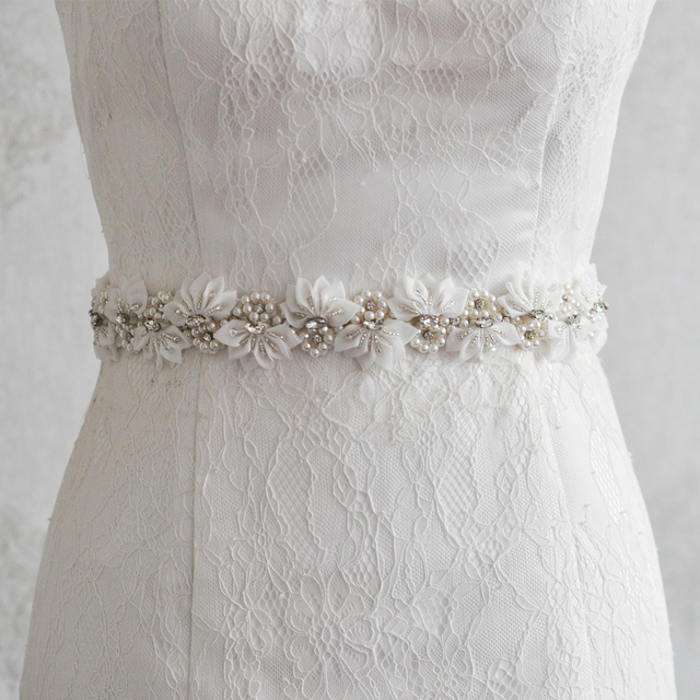 TOPQUEEN S232 Handmade Flower pearl beaded Wedding Fashion Sash Pearl Crystal Embelished Belts