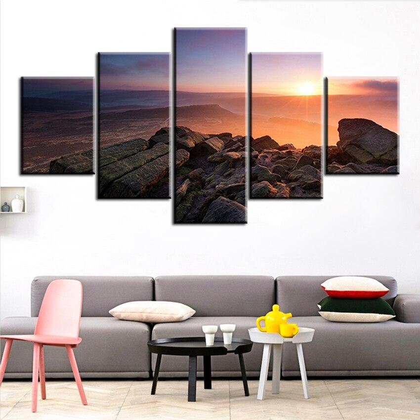 ₩5 paneles set hermosa-puesta en la montaña sin marco aceite Pintura ...