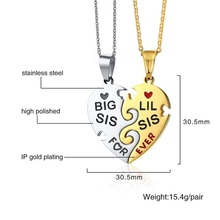Forever Love BIG Sister Necklace Set For Best Friend Gift Heart Couple Necklace For Women Female Jewelry Paired Pendants