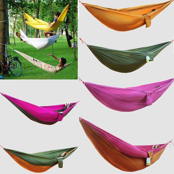 1 pc Outdoor Travel Double Person Hammock Camping Survival Garden Flyknit Hunting Leisure Hamac Free Shipping 300 200cm 2 people hammock 2018 camping survival garden hunting leisure travel double person portable parachute hammocks