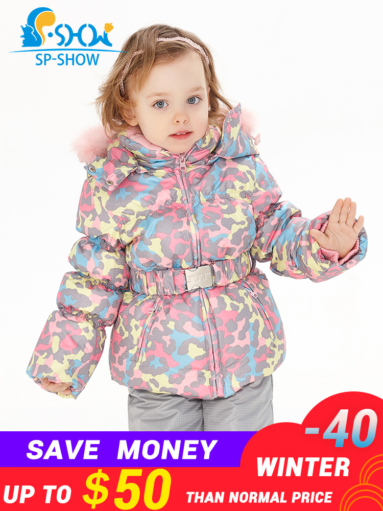 SPSHOW Kids Girls Winter Clothes Luxury Brand 3-8 Age Down Thick Warm Fleece Winter Jacket Fur Hooded Jacket + Trousers Ski SuitSPSHOW Kids Girls Winter Clothes Luxury Brand 3-8 Age Down Thick Warm Fleece Winter Jacket Fur Hooded Jacket + Trousers Ski Suit
