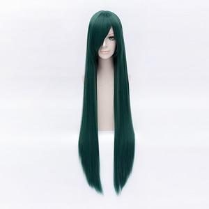 Image 5 - 100cm Long Dark Green Sailor Moon Sailor Pluto Meiou Setsuna Cosplay Wig With Detachable Bun Synthetic Hair Wigs + Wig Cap