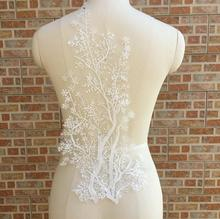 Cindylaceshow 1PC Lace Tree Fabric Ivory White Cotton Embroidered Applique DIY Bridal Wedding Dress Accessories Motif