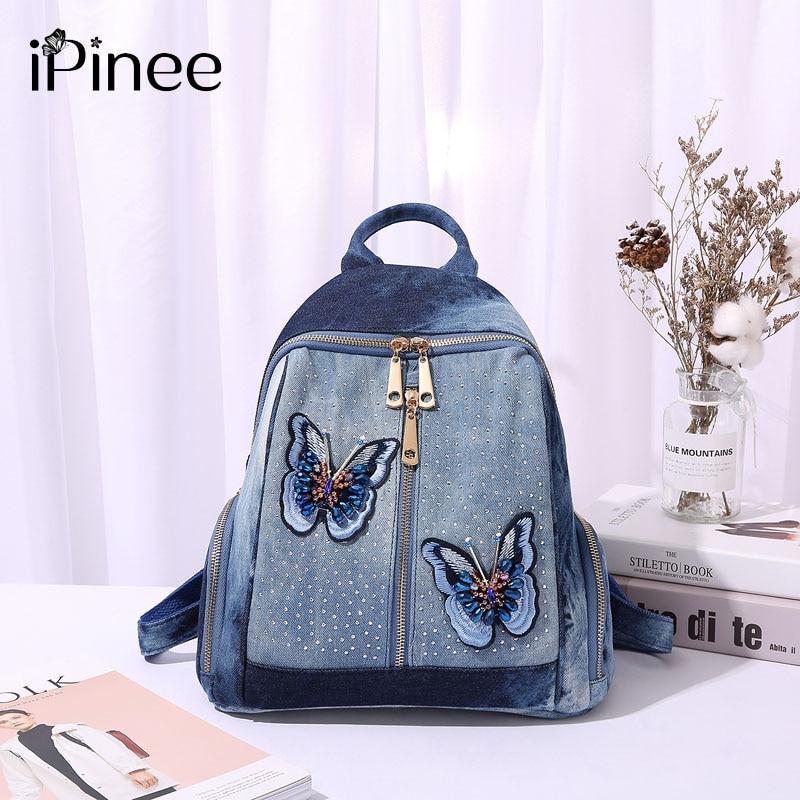 IPinee Women Casual Backpacks Denim Shoulder Bag Butterfly Embroidery Medium Femme School Sac A Dos Mochila Plecak Szkolny